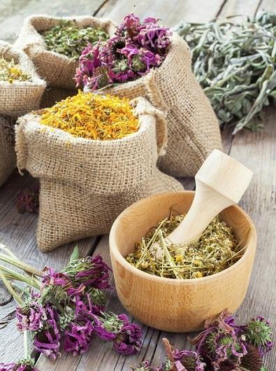 Healing herbs in wooden mortar and in hessian bags, herbal medicine.